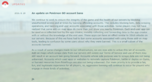 Niantic Pokemon Go Unban Update